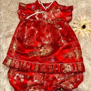 Dresses - Red and gold dress with matching bloomers